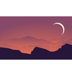 Silhouette of mountain and rock landscape vector