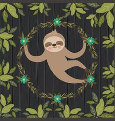 Sloth in the jungle scene vector