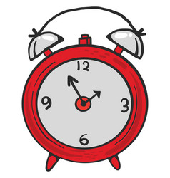 Small red alarm clock on white background vector