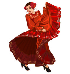 Spanish woman in red dress dancing vector