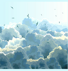 Square of flock blue sky and clouds vector