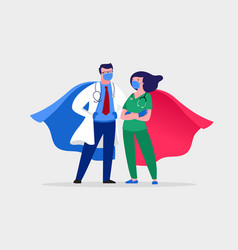 Super doctor and nurse wearing medical masks and vector