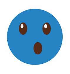 surprised emoticon face kawaii style vector image