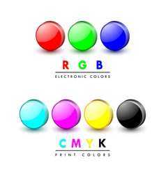 three dimensional rgb and cmyk color icons on vector image