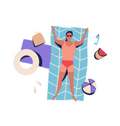 top view sunbathing man with bad tanning lying vector image