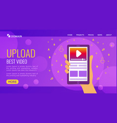 upload best video landing page design vector image