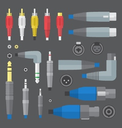 various audio connectors and inputs set vector image