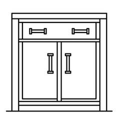 wood nightstand icon outline style vector image