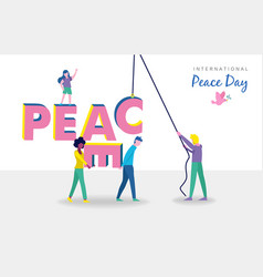 World peace day card of diverse people teamwork vector