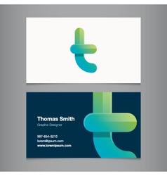business card letter t vector image vector image