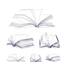 Open book sketch set vector image vector image