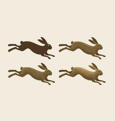 Running hare set of icons rabbit bunny symbol vector