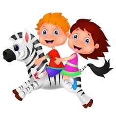 Cartoon Boy and girl riding a zebra vector image