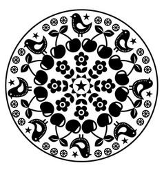 finnish inspired round folk art pattern - black de vector image vector image