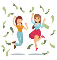 happy successful housewifes in money rain happy vector image vector image
