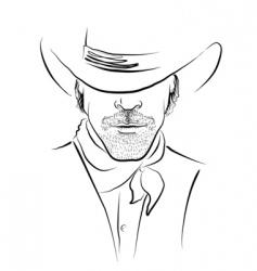 cowboy face vector image vector image