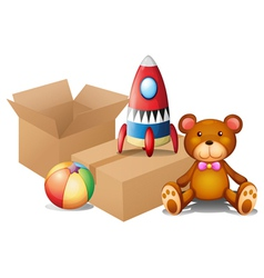 Different toys with two boxes vector image