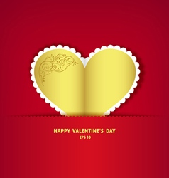 Gold heart paper classic vector image vector image