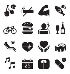 healthy icons set 2 vector image vector image
