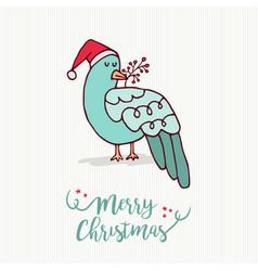 merry christmas card cute santa claus bird cartoon vector image
