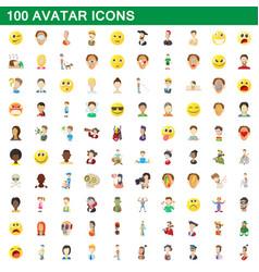 100 avatar icons set cartoon style vector image
