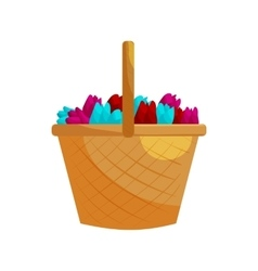 Basket with colorful tulips icon cartoon style vector image