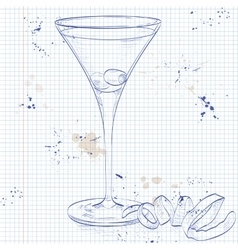 Cocktail Dirty Martini on a notebook page vector image