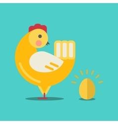 Cute cartoon chicken and gold egg vector