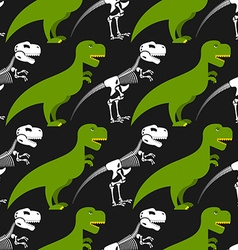 Dinosaur skeleton and seamless pattern Green vector image vector image