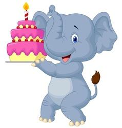 Elephant cartoon with birthday cake vector image