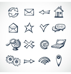 Internet sketch icons vector image