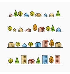 Line buildings and trees in line 4 different vector image vector image