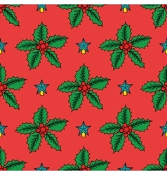 Seamless background with Christmas holly vector image vector image