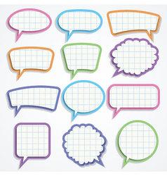 Set of colorful paper speech bubbles vector