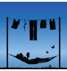 woman in hammock vector image