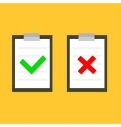 Yes No chek mark sign on clipboard Lined paper vector image