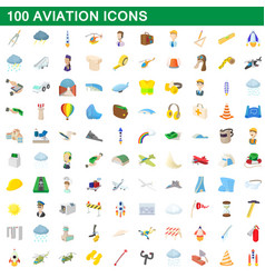100 aviation icons set cartoon style vector image