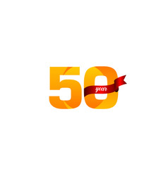 50 years anniversary celebration yellow with red vector