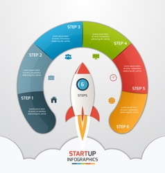 6 steps startup circle infographic with rocket vector image