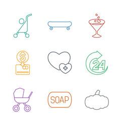 9 orange icons vector image