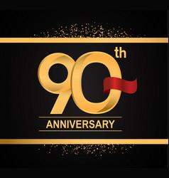 90 years anniversary logotype with premium gold vector