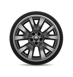 aluminum wheel car tire on white background vector image