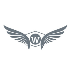 Animal wing logo simple gray style vector