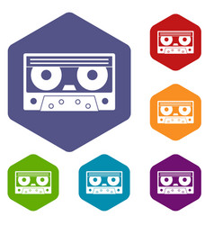 Audio cassette tape icons set hexagon vector