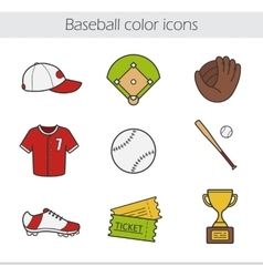 Baseball color icons set vector image