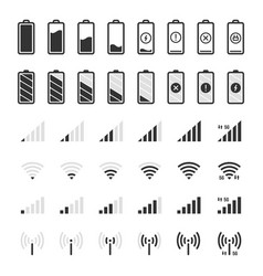 Battery and connection icons smartphone charge vector