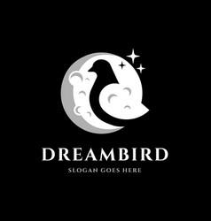 Bird moon logo design vector