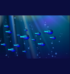 Blue background fish shoal cartoon funny cant vector