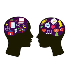 Brains of man and woman vector image