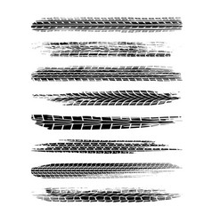 Brushed tire tracks set vector